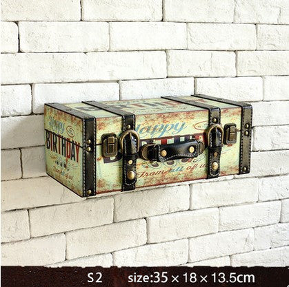 Retro Vintage Suitcase Leather Decorative Floating Wall Shelves