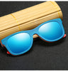 Image of Mirror Blue Frame Retro Wooden Bamboo Sunglasses