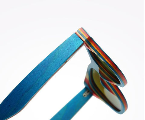 Mirror Blue Frame Retro Wooden Bamboo Sunglasses