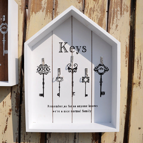 Wood Key Holder Decorative Floating Wall Shelves