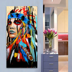 Portrait Indian Painting Canvas Wall Art