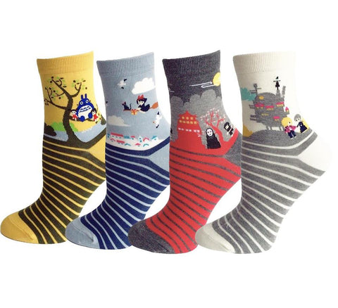 4 pairs Cute Cartoon Novelty Funny Women Socks