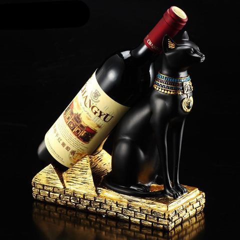 Resin Egyptian Cat Wine Bottle Holder