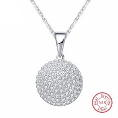 Round 925 Silver CZ Grandma Jewelry Necklace