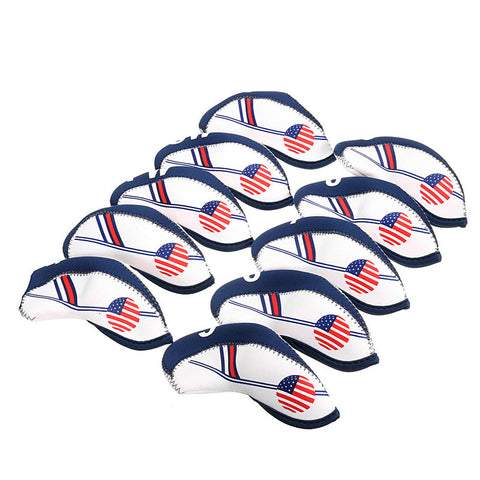10pcs USA Flag Neoprene Iron Head Set Golf Head Covers