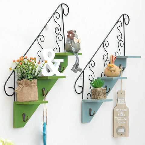 Wood Vintage Flower Pot Decorative Floating Wall Shelves