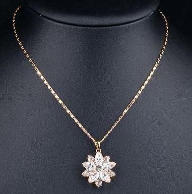 Flower Crystals Grandma Jewelry Necklace
