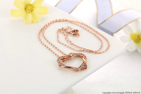 Double Heart CZ Sister Jewelry Necklaces