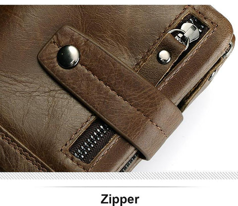 Slim Genuine Leather Mens Zipper Wallet