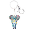 Image of Enamel Jungle Elephant Keychain