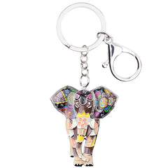 Enamel Jungle Elephant Keychain