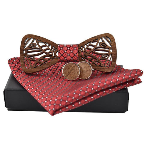 Luxury Handkerchief Cufflink Wooden Bow Tie