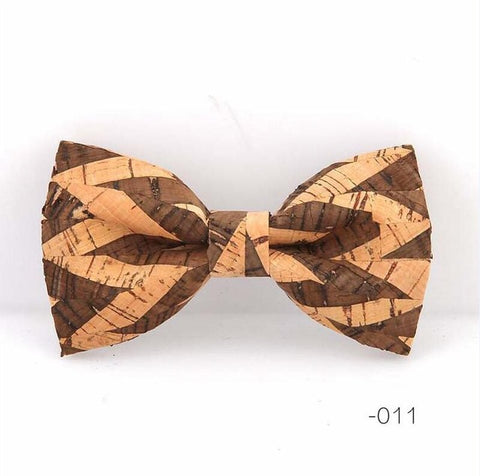 Vintage Retro Cork Wood Bow Tie