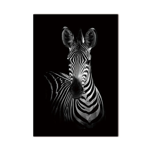 Black And White Animal Decor Canvas Wall Art