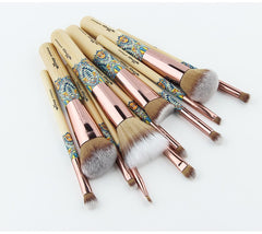 12Pcs Soft Bamboo Makeup Brushes Sets