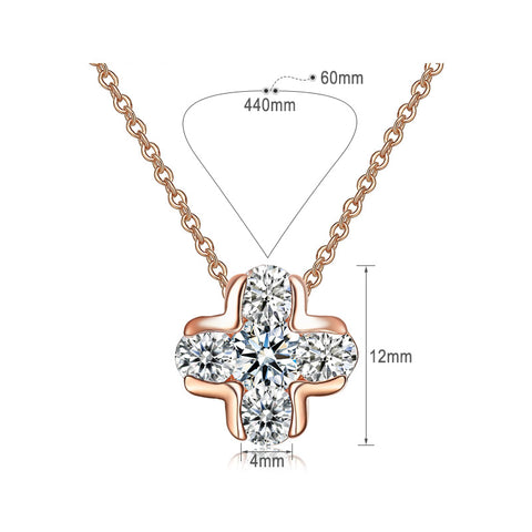 Cross Rose Gold CZ Grandma Jewelry Necklace