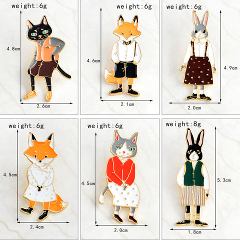 6Pcs Animal Rabbit Fox Cat Etsy Enamel Pins