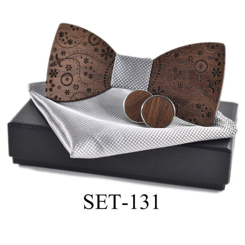 New Fashion Handkerchief Cufflink Wooden Bow Tie