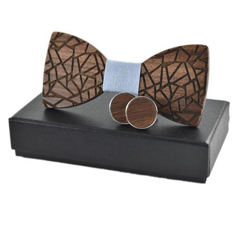 Groomed Business Wedding Cufflink Wooden Bow Tie