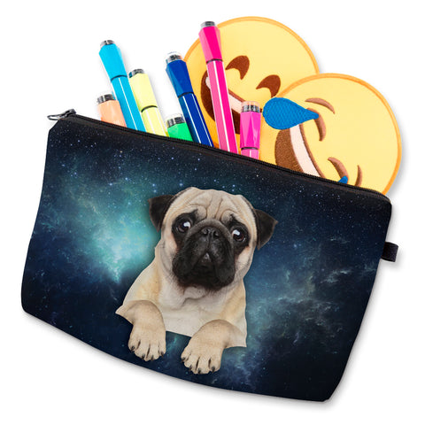3D Print Pug Dog Small Makeup Bag Cosmetic Pouch