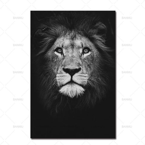 Black And White Animal Painting Canvas Wall Art