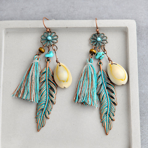 Blue Tassel Shell Bohemian Jewelry Boho Earrings