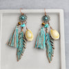 Image of Blue Tassel Shell Bohemian Jewelry Boho Earrings