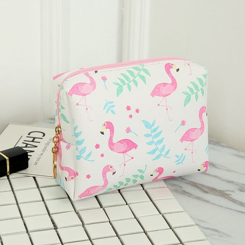 Cartoon Flamingo Small Makeup Bag Cosmetic Pouch