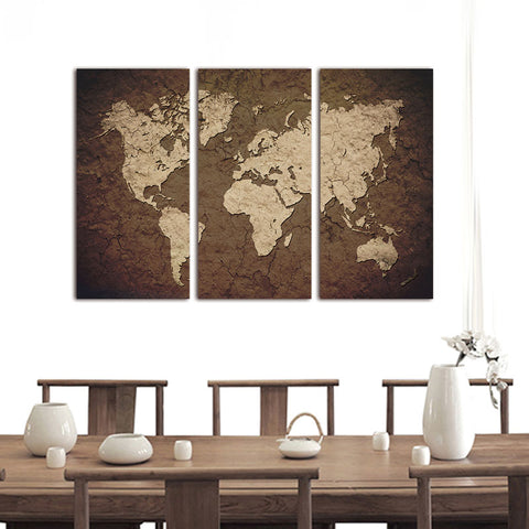 3Pcs Vintage World Map Living Room Canvas Wall Art
