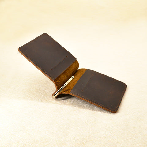 Genuine Leather Money Clip Slim Minimalist Wallet