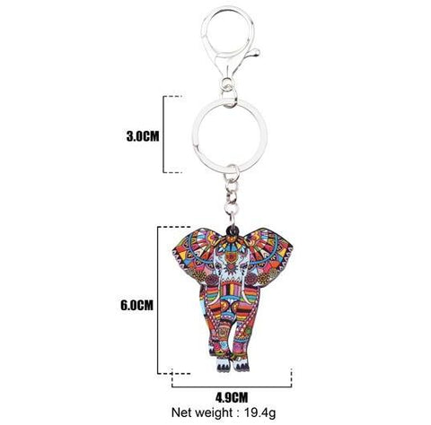 Acrylic Jungle Elephant Keychain