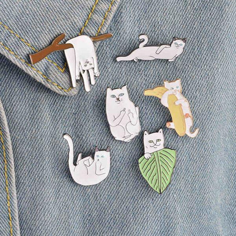 Cool Cartoon Set Cute Cat Etsy Enamel Pins