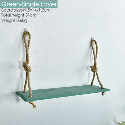 Retro Wood Rope Decorative Floating Wall Shelves