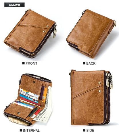 RFID Genuine Leather Double Mens Zipper Wallet