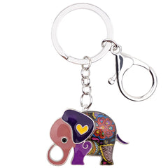 Enamel Cartoon Elephant Keychain