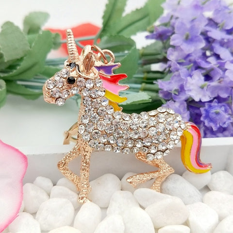 Crystal Unicorn Keychain