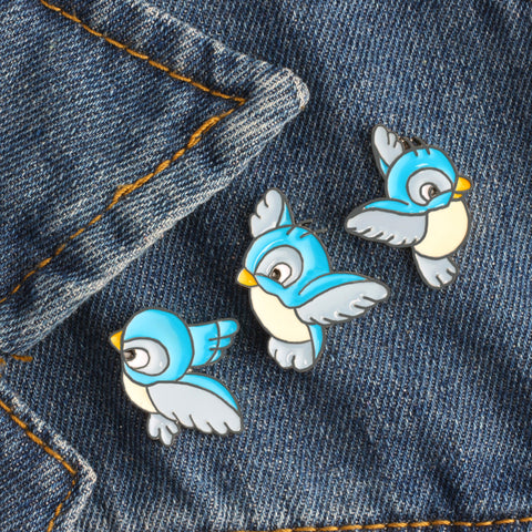 Set Cute Cartoon Blue Bird Enamel Pins