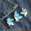 Image of Set Cute Cartoon Blue Bird Enamel Pins