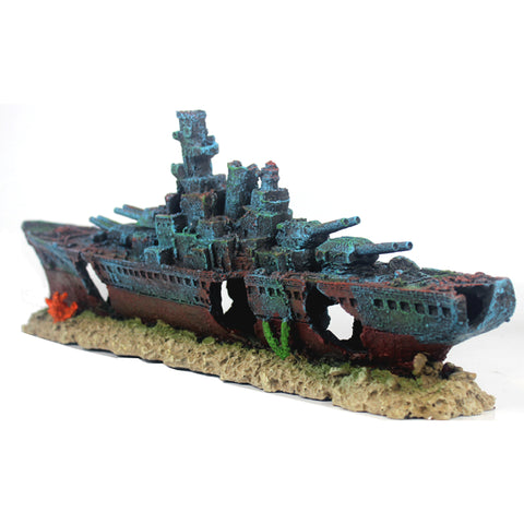 19inch Large Warship Ornaments Aquarium Fish Tank Decorations