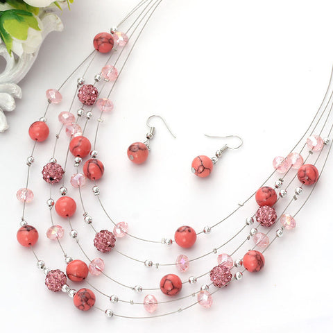 Layer Beads Earring Jewelry Coral Necklace