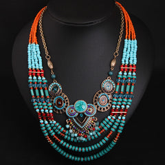 Vintage Handmade Bead Bohemian Jewelry Boho Necklace
