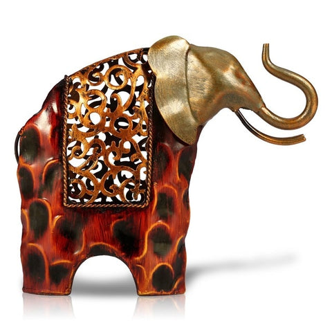 Carved Iron Statue Figurines Elephant Decor