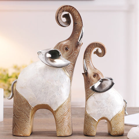 Lucky Resin Statue Figurines Elephant Decor