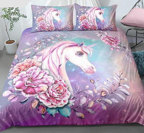 Microfiber Purple Unicorn Bedding Set