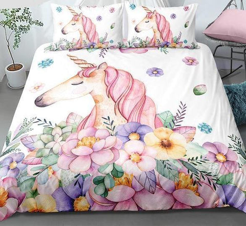 Cute Queen Unicorn Bedding Set