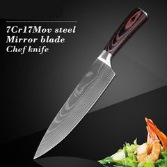 8Inch Santoku Damascus Pattern Slicing Set Chef Kitchen Knife