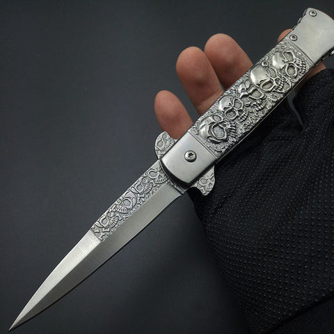 Clip Ghost Skull Hunting Camping Folding Pocket Knife