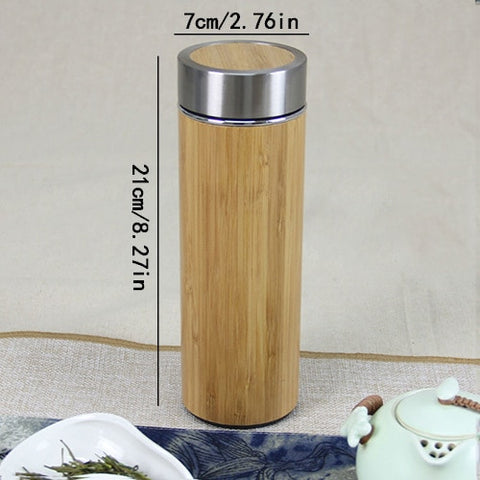 400ML Thermo Insulate Vacumm Bamboo Travel Tea Cup Coffee Mugs