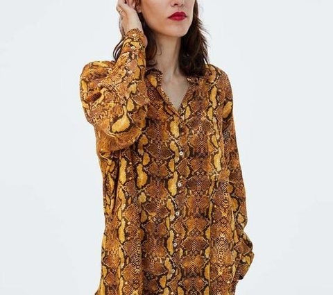 Snake Skin Loose Long Sleeve Shirt Blouse