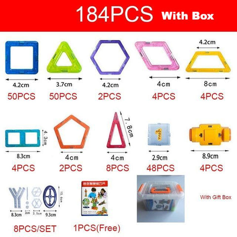 184-252 pcs Magnet Tiles Magnetic Blocks